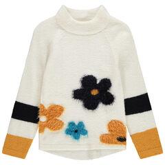 Pull long en tricot à col montant et fleurs en jacquard