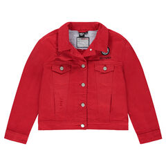 Junior - Veste en jeans rouge avec badge ©Smiley et poches