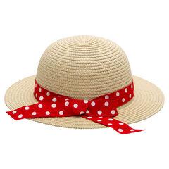Chapeau effet paille avec ruban à pois