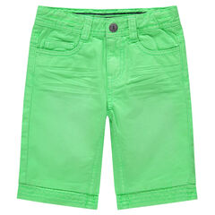 Bermuda en coton vert fluo effet crinkle