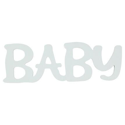 """Het woord """"BABY"""" in geschilderd hout"""