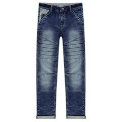Junior - Jeans slim en molleton avec jeux de découpes