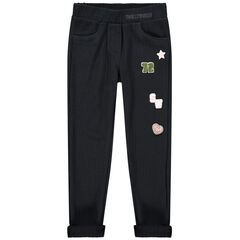 Jegging van ribvelours met Smiley badges