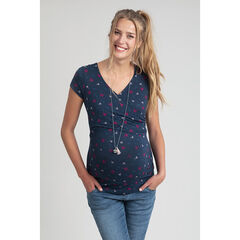 T-shirt manches courtes de grossesse et d'allaitement imprimé all-over
