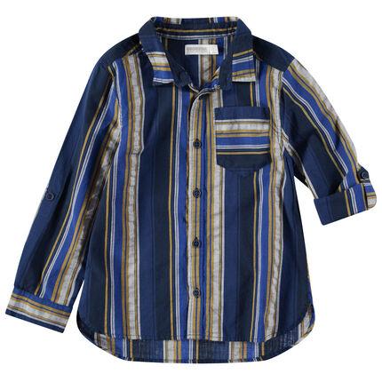 Chemise manches longues à rayures verticales contrastées et poche