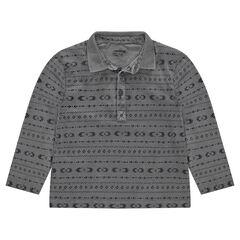 Polo manches longues en jersey surteint avec motifs ethniques
