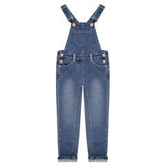 Lange tuinbroek van jeans met used effect