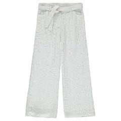 Junior - Pantalon large en dentelle motif floral