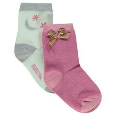 Lot de 2 paires de chaussettes assorties avec motif jacquard/noeud satiné