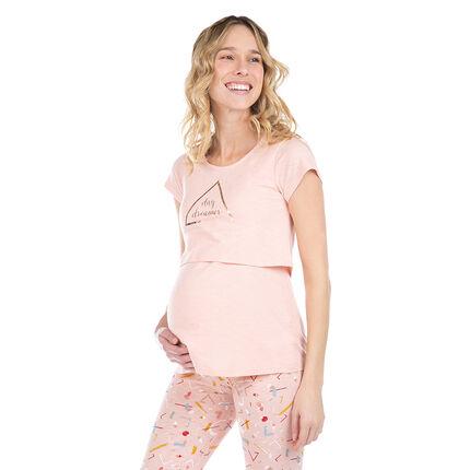 fast delivery lace up in hot products Haut de pyjama de grossesse et d'allaitement avec print doré ...