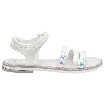 Nu-pieds avec brides iridescentes et nacrées