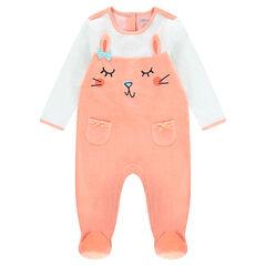 Pyjama van tweekleurig fluweel met konijnmotief en zakken