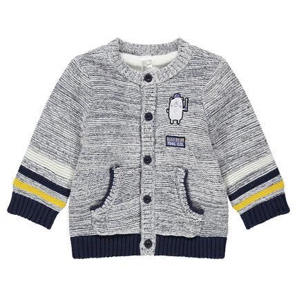 Veste en tricot twisté avec ourson patché et rayures contrastées
