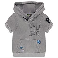 Mouwloze sweater van molton met kap, patches en print met boodschap