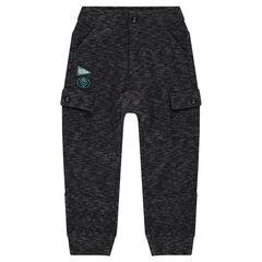 Pantalon fourche basse en molleton à poches