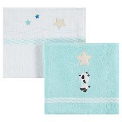 Set de 2 serviettes 2 tailles avec étoiles et panda brodés