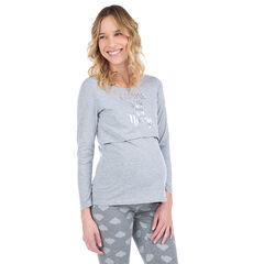 Homewear T-shirt met lange mouwen en opdruk met boodschap