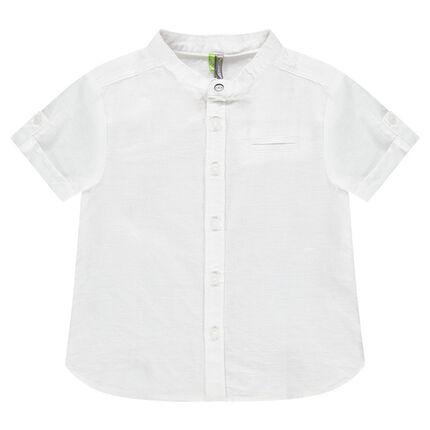 Chemise manches courtes en coton à col mao