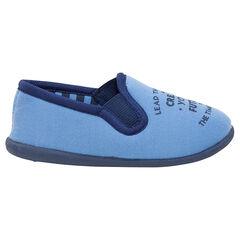 Lage pantoffels uit jerseystof met opschrift