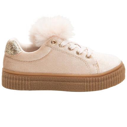 Sneakers van velours met pompon en versteviging met pailletjes