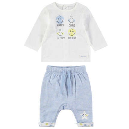 Ensemble avec tee-shirt print Smiley et pantalon chiné print étoile