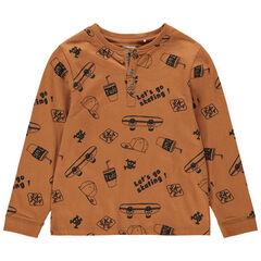 T-shirt met lange mouwen van jerseystof met skateboardprint