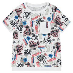 Tee-shirt manches courtes imprimé all-over avec poche