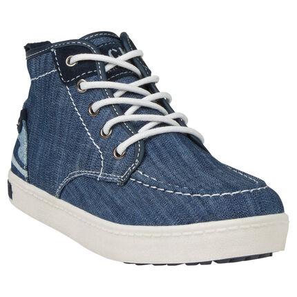 Bottillons aspect jeans à lacets et zip du 24 au 27