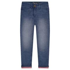 Junior - Aansluitende straight-fit jeans met voering van jerseystof