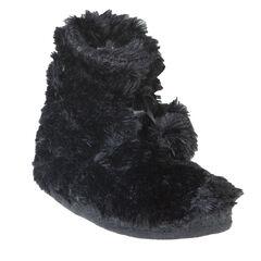 Zwarte pantoffels in imitatiebont met pompons