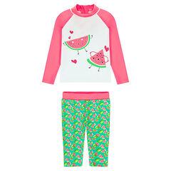 Anti-UV badpak bestaande uit t-shirt en short met watermeloenprint