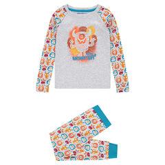 Pyjama van jerseystof met monsterprint