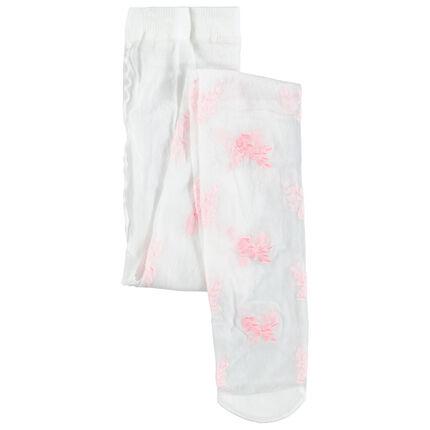 Dunne panty met geborduurde bloemen