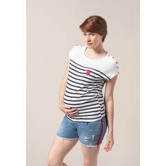 Zwangerschaps-T-shirt in marinestijl met print met hart