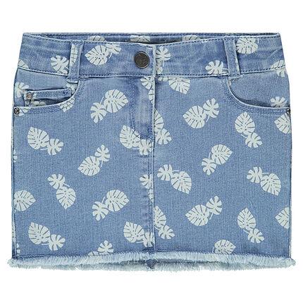 Jupe en jeans imprimé feuilles
