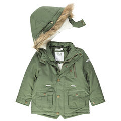 Parka en toile doublée sherpa à poches et capuche amovible