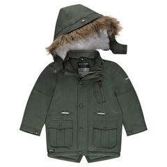 Parka en twill doublée sherpa avec capuche amovible