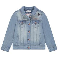 Veste en jean effet used à poches et papillons brodés au dos