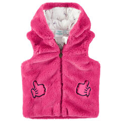 Vest zonder mouwen met kap van roos namaakbont van Minnie Disney