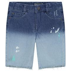 Short en jeans effet tie and dye avec effet tâches de peinture