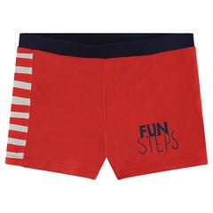 Rode zwemshort met opschrift
