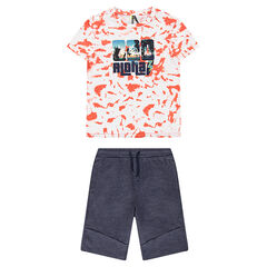 Junior - Ensemble van T-shirt met print in shiboristijl en bermuda van gemêleerde molton