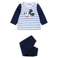 Pyjama van velours met contrasterende strepen en geborduurde Mickey ©Disney