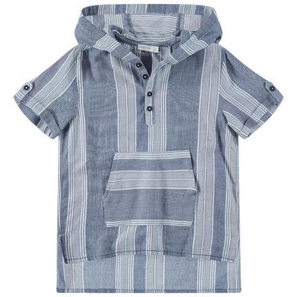 Junior - Hemd met korte mouwen met kap en kangoeroezak