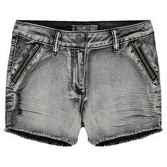 Junior - Jeansshort met afgewassen effect, ritssluiting en franjes.
