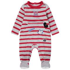 Gestreepte Disney pyjama van velours met Mickey-badges