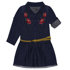 Robe manches longues en chambray avec broderies florales