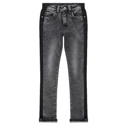 Junior - Jeans met used effect en contrasterende banden aan de zijkanten