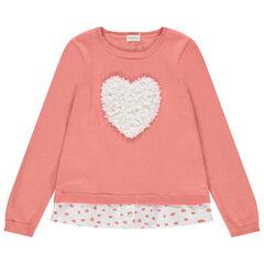 Pull en tricot effet 2 en 1 à coeur reliéfé