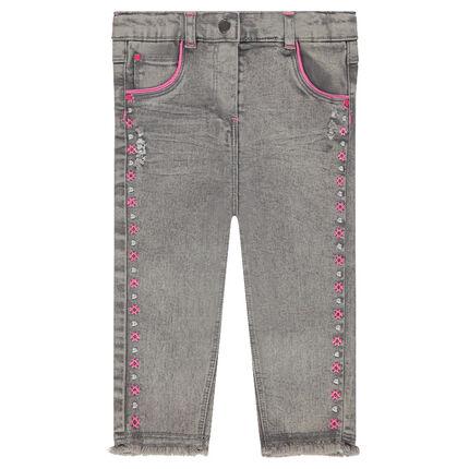 Slim-fit jeans met krullend borduurwerk